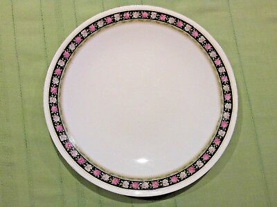 HAMMERSLEY & Co PLATE 23.5 cm PINK AND WHITE ROSES ON BLACK BORDER 1912 - 1939