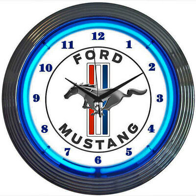 Neon Lighted Face Kitchen Wall Clock FORD MUSTANG BLUE Pony Car Emblem 38cm Dia.