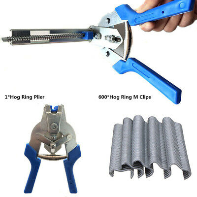 1Pcs Hog Ring Plier Tool &600 M Clips Staples For Chicken Mesh Cage Wire Fencing