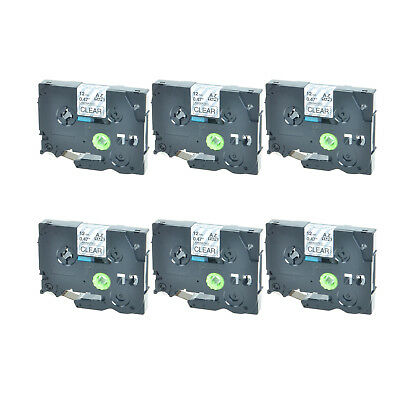 6PK TZ-131 TZe-131 Black on Clear Label Tape For Brother P-Touch PT-1910 12mmx8m