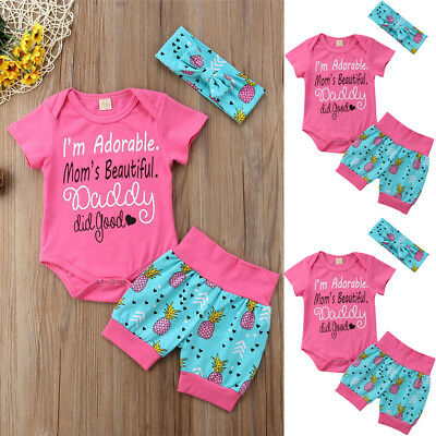 2PCS Kids Baby Girls Clothes Clothing Outfits Sets Outfit T-Shirt+Short Pants