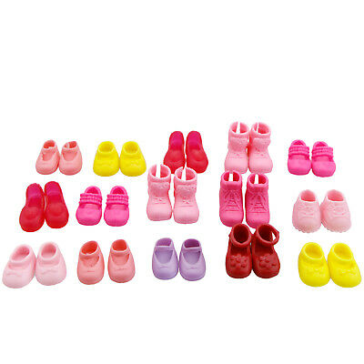 Pink 5 Pairs Fashion Flat Shoes For Barbie Sister Kelly Doll Kids Gift Toy