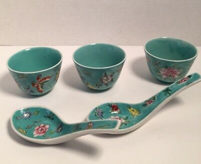 Japanese Famille Rose 3 Bowls And 2 Spoons Decorated In Hong Kong