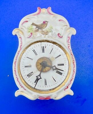 Antique Small Clock Porcelain Decorated Cuckoo, Pendulum Cuckoo Miniature