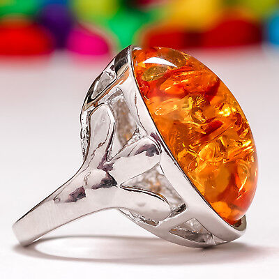 Baltic Amber Gemstone 925 Sterling Silver Plated Ring Size 6,7,8,9,10 #sr1048-Or