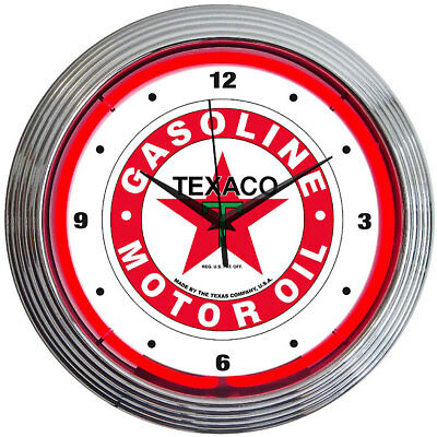 Neon Lighted Face Kitchen Garage Wall Clock TEXACO MOTOR OIL Vintage Advertising