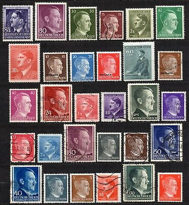 GERMANY 3rd REICH Adolf Hitler / WWII  Collection of 20 Different Stamps M & U
