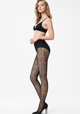 Wolford Nancy Patterned Net Tights, Intricate, Net Floral Design, Vintage Look B