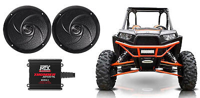 "2) Rockville RSM65B 6.5"" Waterproof Slim Speakers+MTX Amplifier RZR/ATV/UTV/Cart"