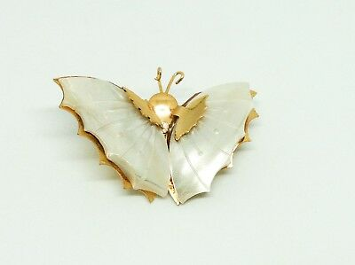 Stunning Mother Of Pearl Butterfly Brooch