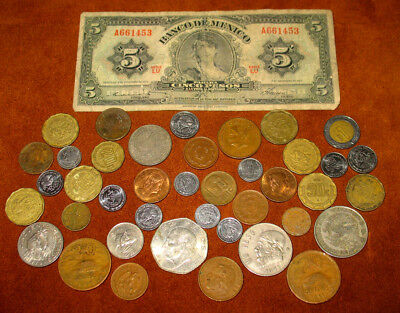 MEXICO VINTAGE COIN COLLECTION! MEXICAN COIN LOT WITH 5 PESOS BANKNOTE! (r-5)