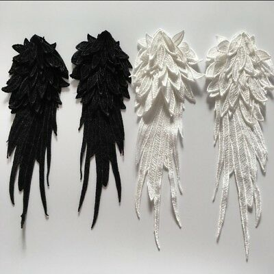 Pair Lace Angel Wing Embroidery Patch Applique Sew DIY Badge Craft Black White