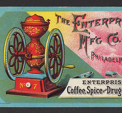 Coffee Mill 1800's Antique Enterprise Drug Spice Grinder Advertising Trade Card