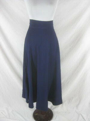 Vtg 50s 60s Blue Womens Vintage High Wasted Cotton FULL Skirt W 26