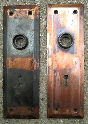 """Antique Pair of Copper/Brass Plates 7"""" x 2"""" Flat w/Beveled Edge Beautiful Patina"""