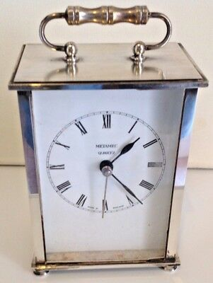 "Stunning Silver Plate Metamec Quartz Mantel Carriage Clock  5.25""/13.5cm Tall"