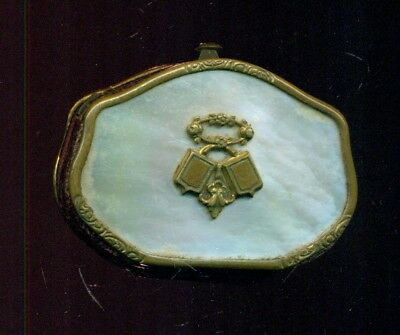Antique French Coin Purse, Mother of Pearl, Napoleon III Era, Silk Inside