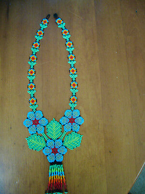 Incredible Folk Art Huichol Beaded Necklace Peyote Flowers Excellent!!
