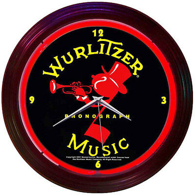 Neon Lighted Wall Clock WURLITZER JUKEBOX Johnny One Note Red Vintage Art Image