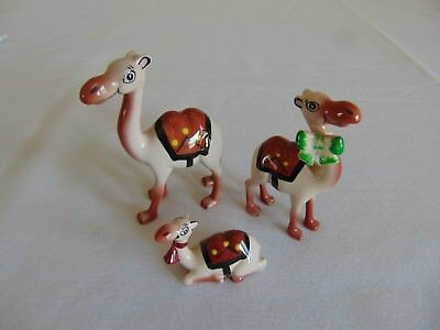 Set Of 3 Vintage Whimsical Ceramic Camel Figurines HandPainted Free Shipping