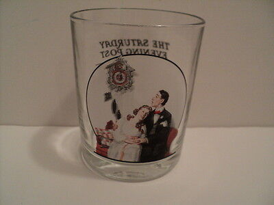 Norman Rockwell Saturday Evening Post Glass Glassware Courting at Midnight
