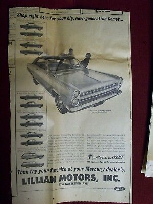 Vintage 1966 Mercury Comet Newspaper Ad -  Local Car Advertisment Clipping