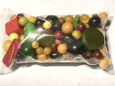 Bag Of Miscellaneous Bakelite Beads And Components 147g #2