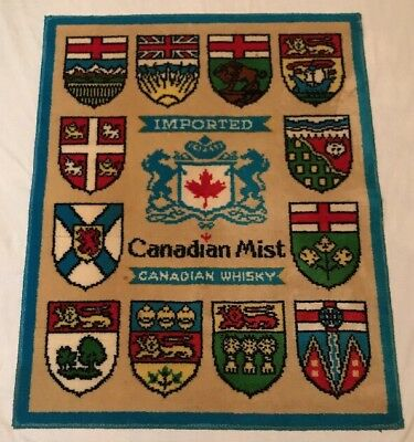 Vintage Canadian Mist Whiskey Shields Coat of Arms Logo Advertising Rug Carpet