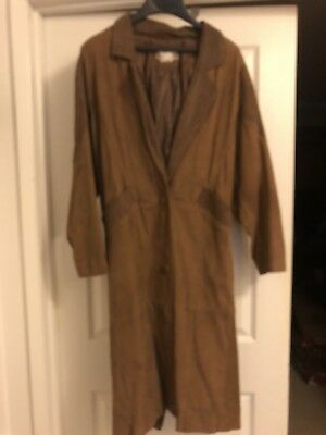 Womens Vintage long Leather Coat XS