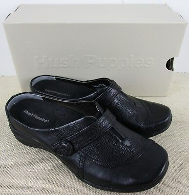 f3486c4990e8a Hush Puppies H500435 Stanza Women's Black Leather Slip On Clog Shoes New In  Box