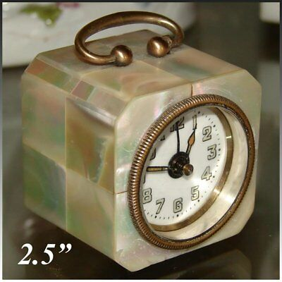 "Lovely Vintage German Mother of Pearl Cased 2.5"" Tall Travel Alarm Clock"