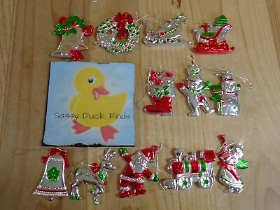 "Christmas Ornaments 2"" Set of 12 Red Silver Plastic Snowmen Sleigh Train Bells"