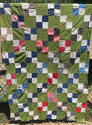 Antique mid 1800s Quilt Top ~ Poison Green 4 Patch- A Study of Early Prints