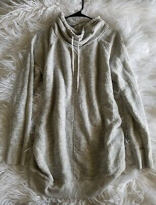 Liz Lange maternity pullover hood sweater top size large heathered gray casual