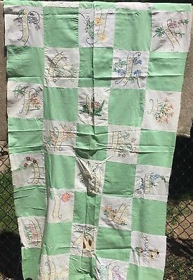 Antique Vintage 1930s Quilt Top ~ States & Their State Flowers 22 State Blocks