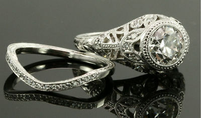 Vintage Antique Style 2 CT Signity Wedding Diamond 2pcs Bridal Ring Set All Size