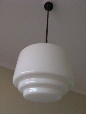 art deco retro antique vintage 1930s stepped milk glass shade pendant light