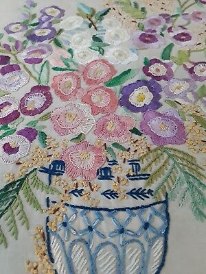Vintage hand embroidered floral picture embroidery flowers panel art deco linen