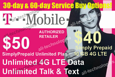 1st & 2nd Month Preloaded T-Mobile $50 Unlimited 4G & $40 10GB SIM Cards