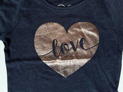 Girls Dark Grey T Shirt with Gold Heart and Love detail. 12-18 or 24-36 Months