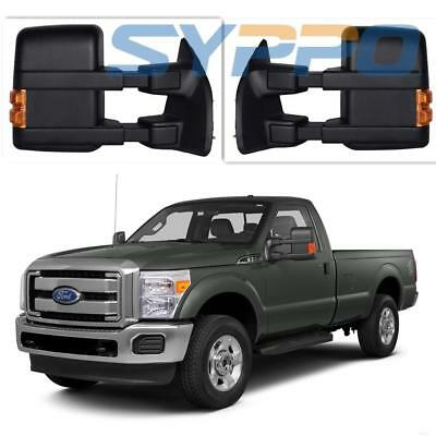For 99-16 Ford F250 Super Duty Pair Side Towing Manual Mirrors LED Amber Signal