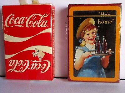 2 Decks Coca Cola Playing Cards He's Home & Classic Coke Design Ribbon Sealed