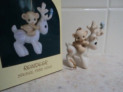 """1986 Precious Moments """"reindeer"""" Special Issue W/box- 102446- Buy It Now $5"""