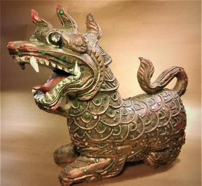 Beautiful Carved Antique Thai Wood Dragon Container Thailand Early 20th C.