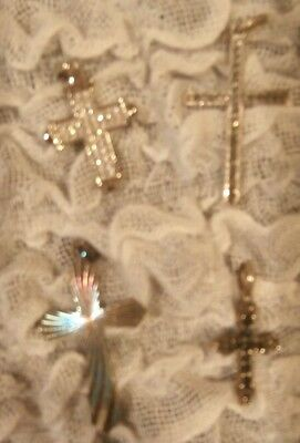 """Lot Of 4 Sterling Silver Crosses Pendants 1""""-1.25"""" Mixed Stones Marcasite? .925"""