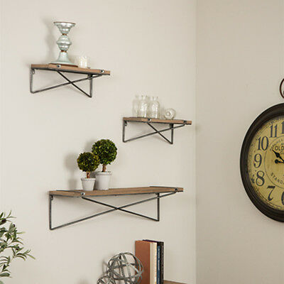 Glitzhome Farmhouse Antique Wooden Floating Wall Shelves Set of 3 Display Ledge