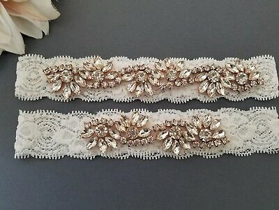 Wedding Bridal Garter Set - ROSE GOLD CLEAR CRYSTAL OFF WHITE lace GARTER SET