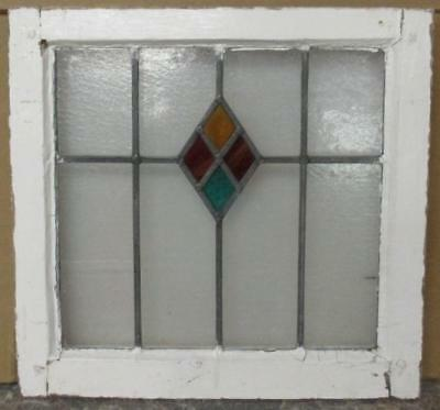 "OLD ENGLISH LEADED STAINED GLASS WINDOW Colorful Diamond Abstract 19"" x 18"""