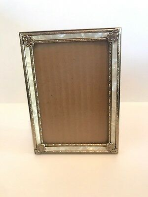 "Vintage Ornate Metal Picture Frame 5""x7"" Photo FAUX Mother of Pearl Inlay Glass"