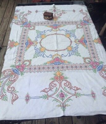 EXQUISITE Vintage Linen Hand Cross Stitched Tablecloth Rococo. Flower Baskets